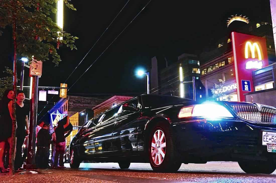 Black Lincoln Stretch Limo, Night out at the town, Night Lights Limousine